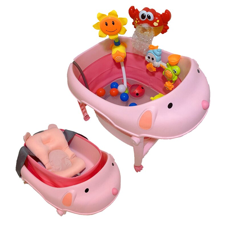 新生洗澡盆兒童折疊浴桶寶寶洗澡桶可坐躺泡澡游泳桶家用大號