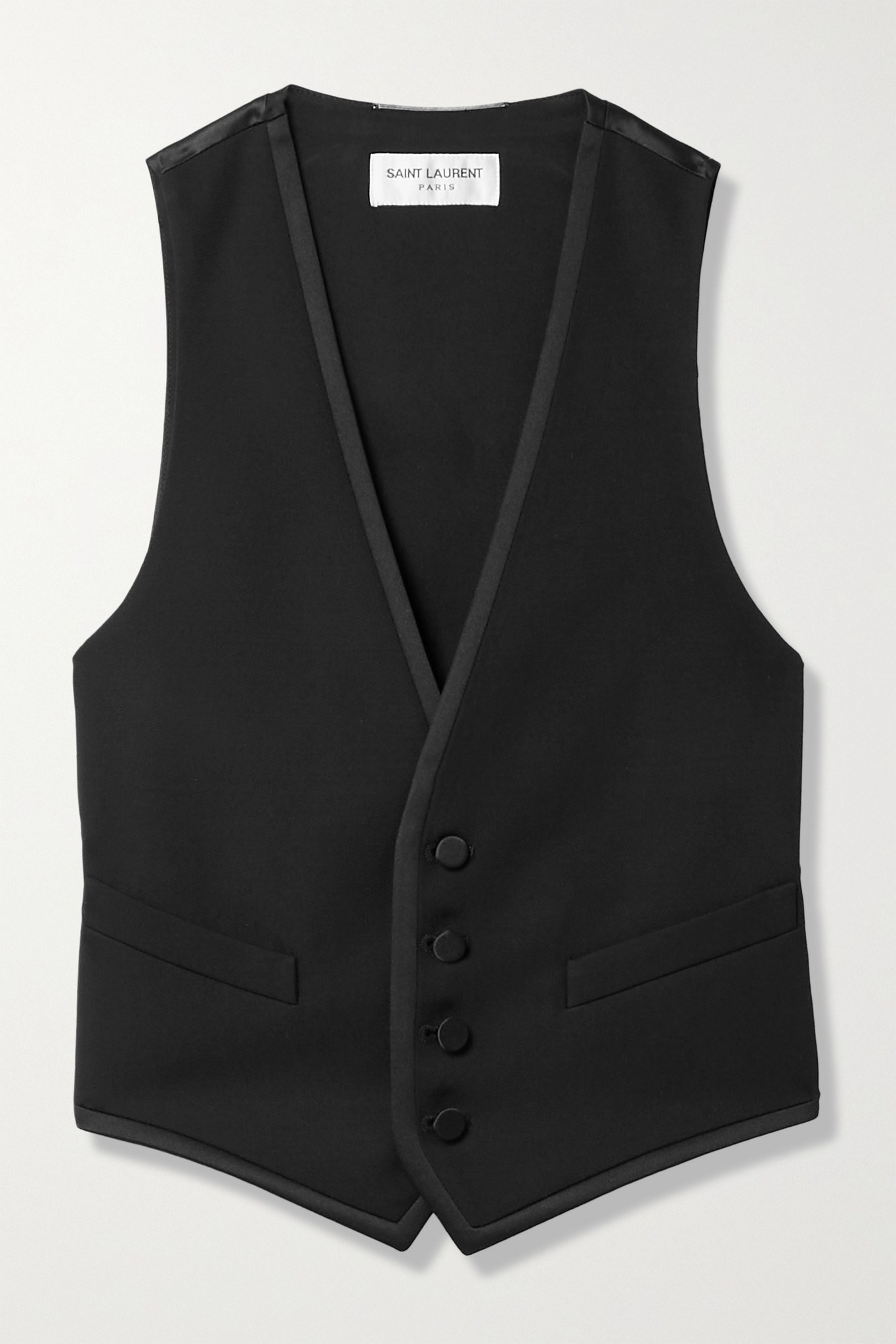 SAINT LAURENT - 粒纹羊毛丝缎短款马甲 - 黑色 - small