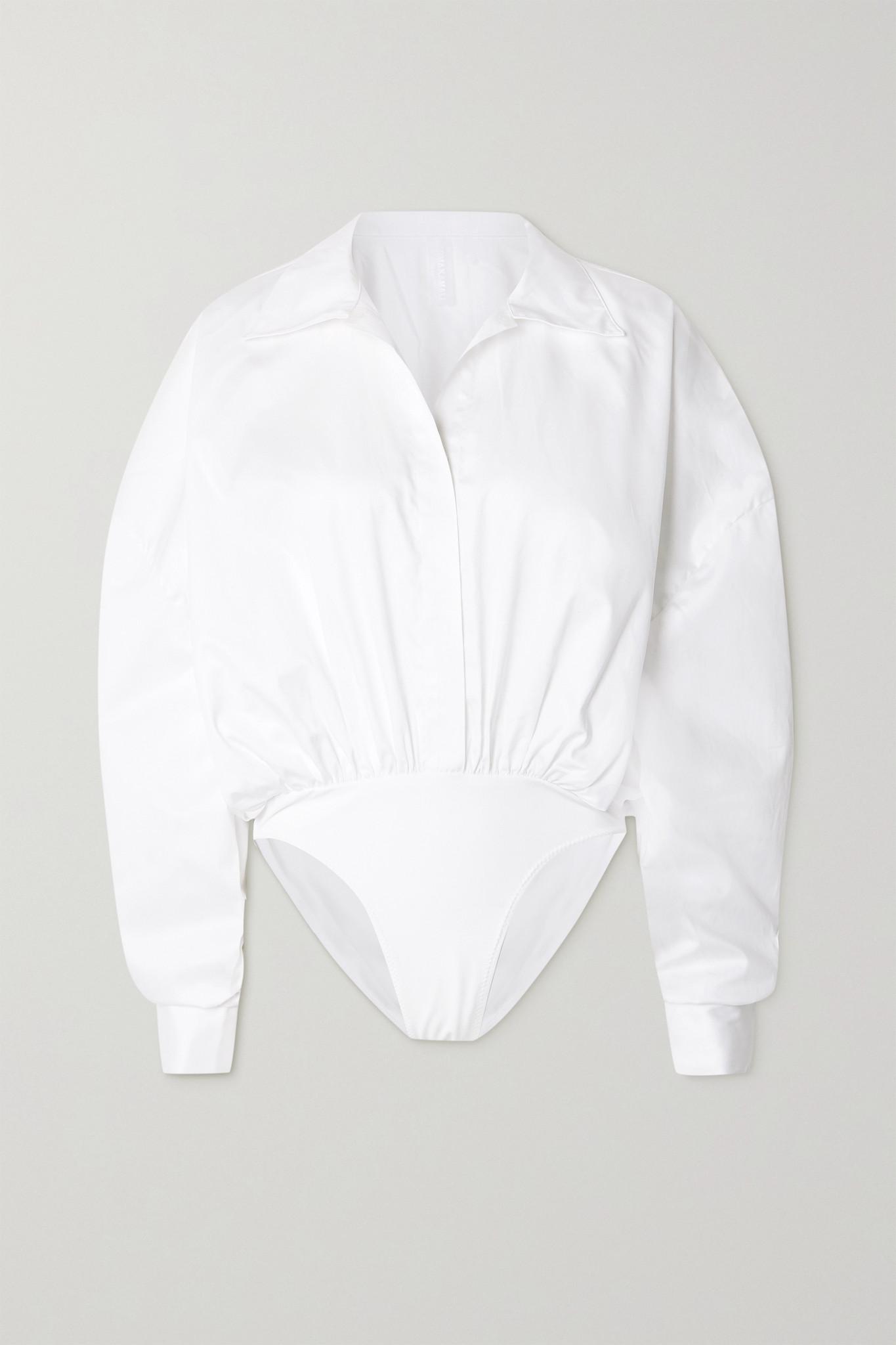 NORMA KAMALI - Oversized Cotton-poplin And Jersey Bodysuit - White - large