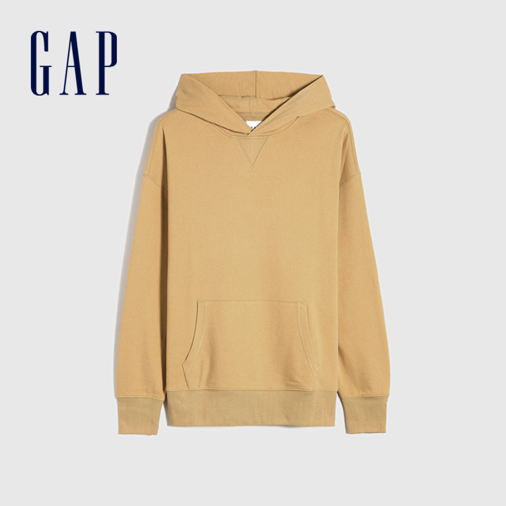 Gap 男裝 碳素軟磨系列 簡約風連帽休閒上衣 704838-駝色