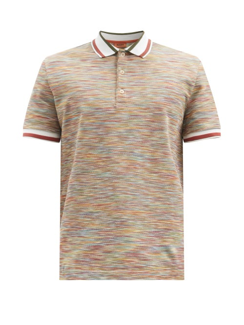Missoni - Space-dyed Cotton-jersey Polo Shirt - Mens - Multi