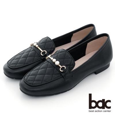 【bac】復刻車格珍珠裝飾方頭樂福平底鞋-黑