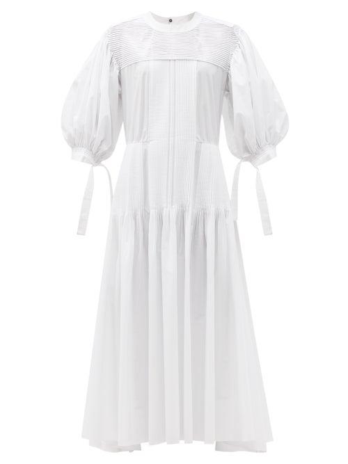 Jil Sander - Pintucked Cotton Maxi Dress - Womens - White