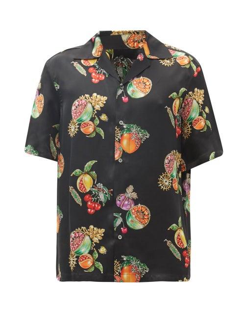 Edward Crutchley - Cuban-collar Fruit-print Silk-satin Shirt - Mens - Black Multi