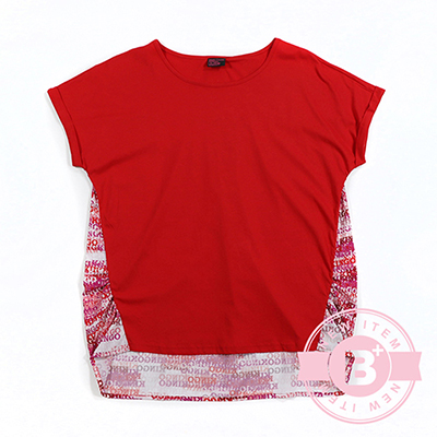 加大尺碼35-914838連袖長版造型T恤-紅