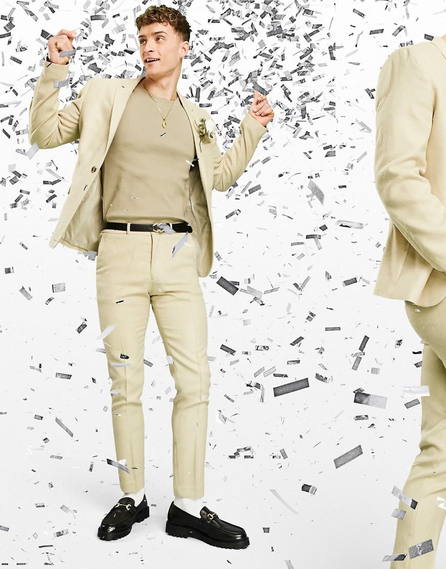 ASOS DESIGN wedding skinny suit trousers in wool look in camel-Neutral