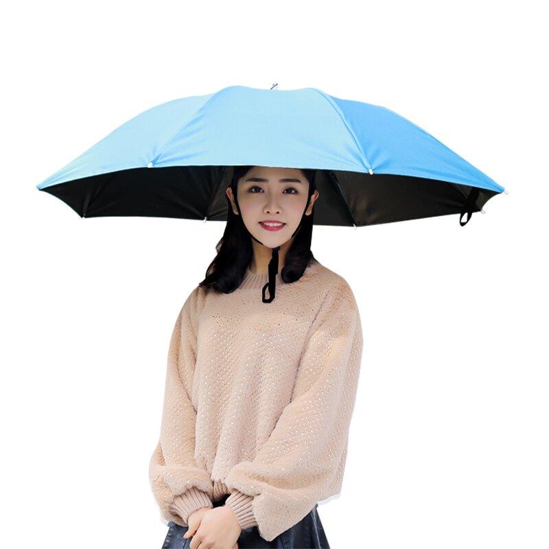 傘帽頭戴傘黑膠釣魚傘頭頂式3折疊雨傘防曬防雨遮陽大號頭帶式傘【my143】