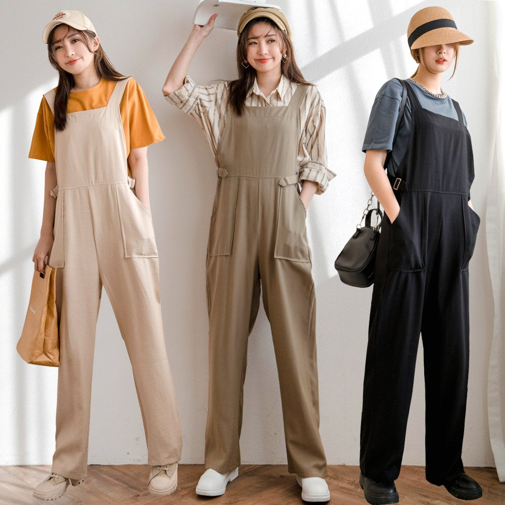 MIUSTAR 兩側造型釦帶棉麻吊帶褲(共4色)長褲 0302 預購【NJ0028】