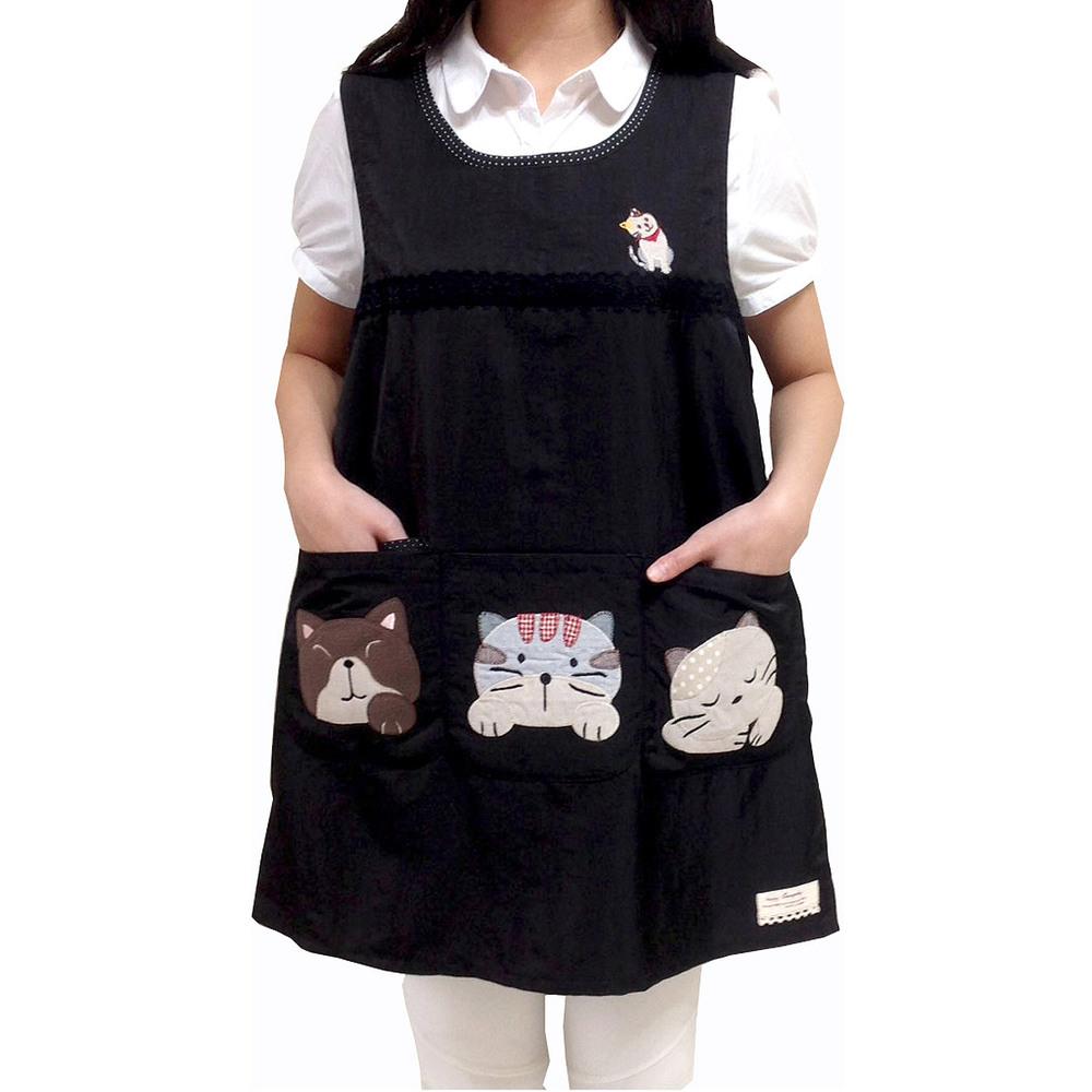 絲光綿萌萌動物4口袋圍裙-黑(後綁)