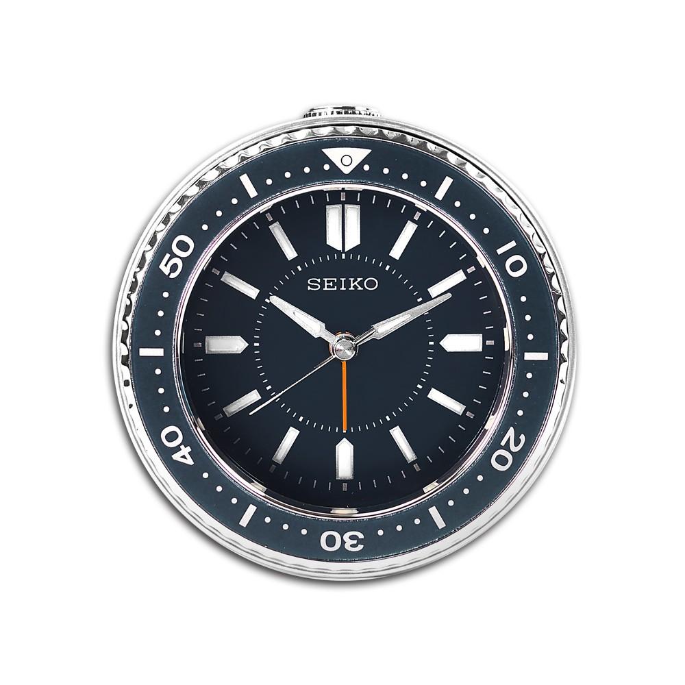 SEIKO 精工 / 潛水錶造型 滑動式秒針 燈光照明 貪睡鬧鈴 指針靜音鬧鐘 / 藍色 / QHE184L