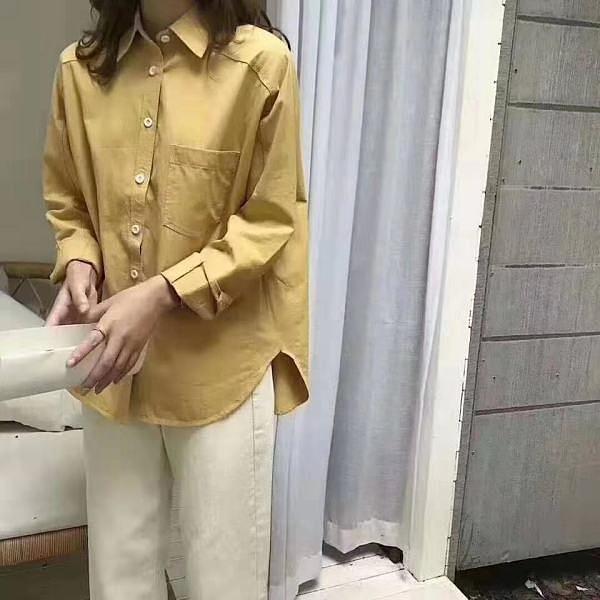 韓版秋季新款上衣設計感小衆百搭寬松顯瘦學生開學季襯衫外套639 GD711 韓依紡