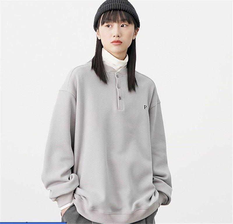 PROD春秋季微泡質感華夫格棒球領薄款套頭灰色衛衣女寬松圓領上衣