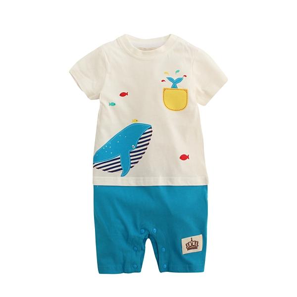 短袖連身衣 鯨魚印花爬服可愛動物設計 假兩件連體衣 純棉爬衣 短袖哈衣 LYT15