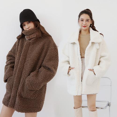 現貨-皮帶釦立領寬版羊羔毛外套-M-Rainbow【A466095】