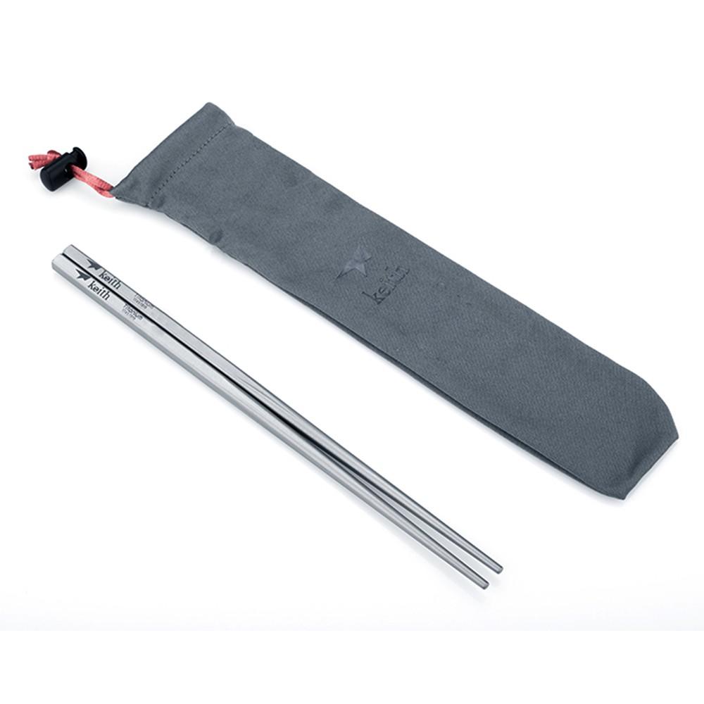 【Keith純鈦】Ti5633 純鈦環保攜帶式實心方形筷子23cm《屋外生活》露營 野炊 野餐