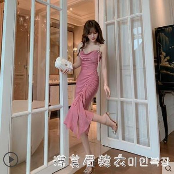 性感吊帶晚禮服2021夏裝新款小香風不規則魚尾小禮服顯瘦宴會裙子 美眉新品