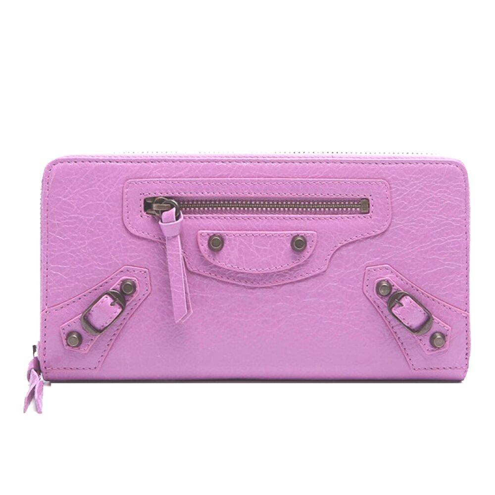 BALENCIAGA 巴黎世家 CLASSIC羊皮亮銅釦拉鍊長夾(粉紫)