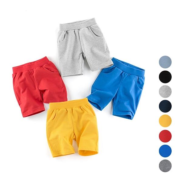 運動休閒素面鬆緊褲頭棉質短褲 褲子 男童 現貨 童裝 兒童 小童 中童