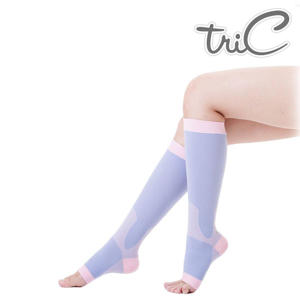 【Tric】台灣製造 睡眠機能 美腿露趾中統小腿襪 單雙