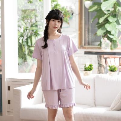 華歌爾睡衣-睡眠研究所 M-L短袖睡衣褲(紫) 膠原蛋白纖維