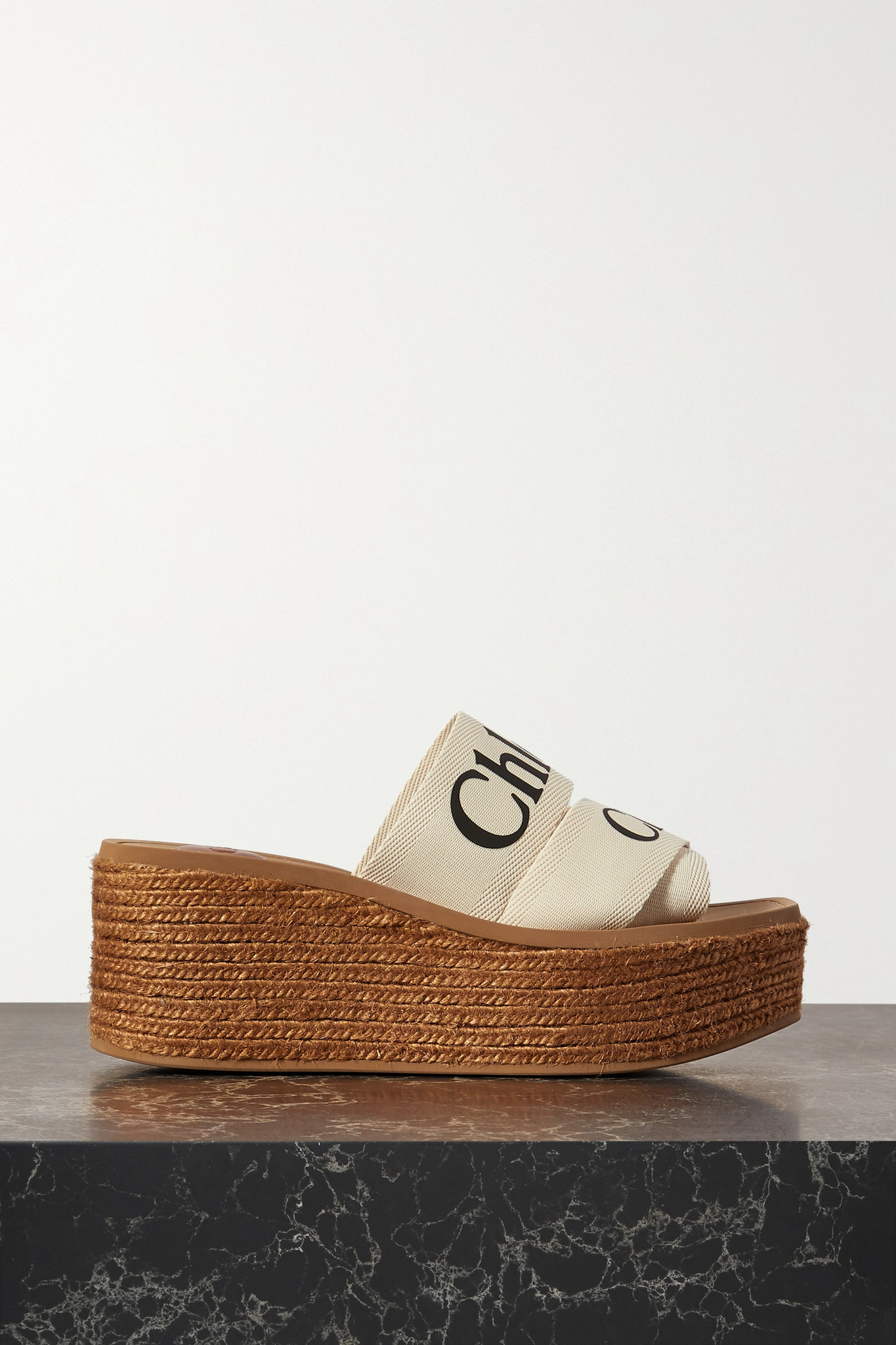 CHLOÉ - Woody 品牌标志印花帆布麻底防水台拖鞋 - 白色 - IT37