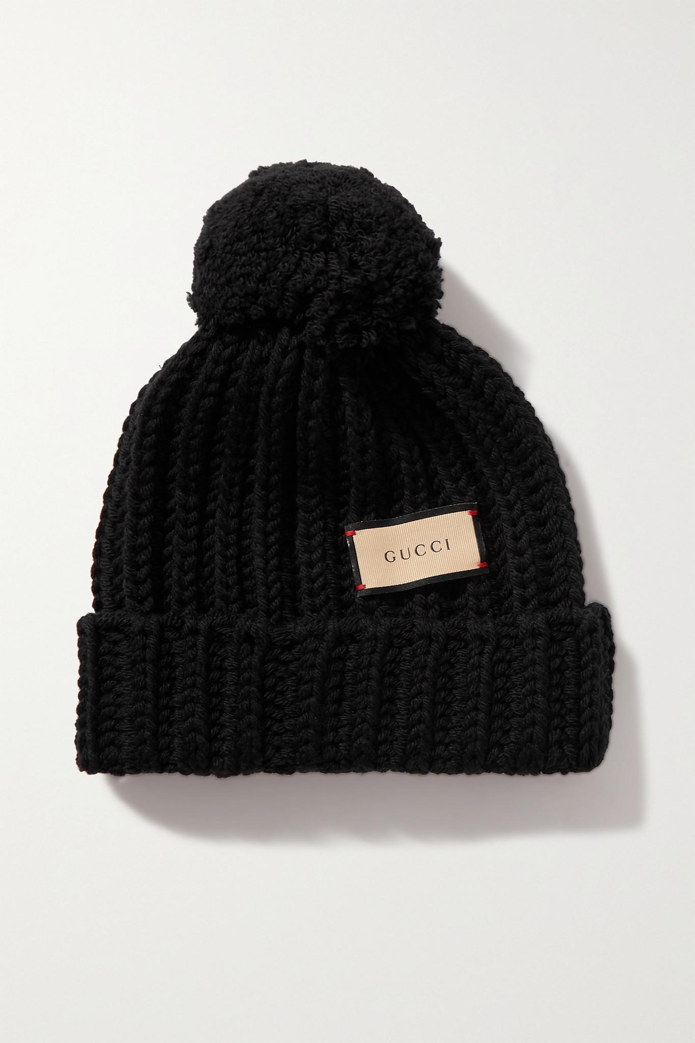 GUCCI - Pompom-embellished Ribbed Wool Beanie - Black - L