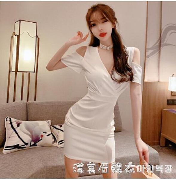 夜 店性感連衣裙女夏白色短款禮服氣質名媛露肩V領法式洋裝小禮服 美眉新品