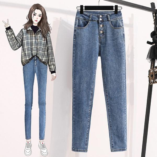 大碼牛仔長褲M-5XL顯瘦棉彈牛仔洗水鉛筆褲高腰緊身水洗藍色長褲修身拉鏈牛仔褲M3C077韓衣裳