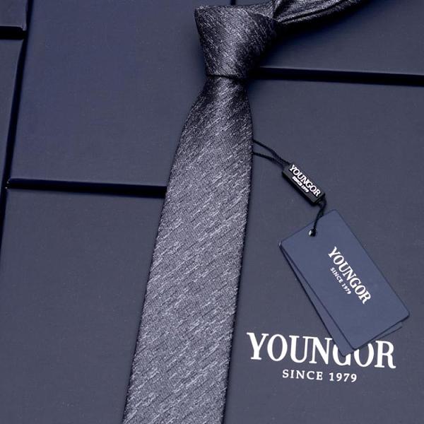 真絲領帶桑蠶絲襯衫男士正裝商務領帶韓版窄結婚休閑職業黑色6cm 晴天時尚