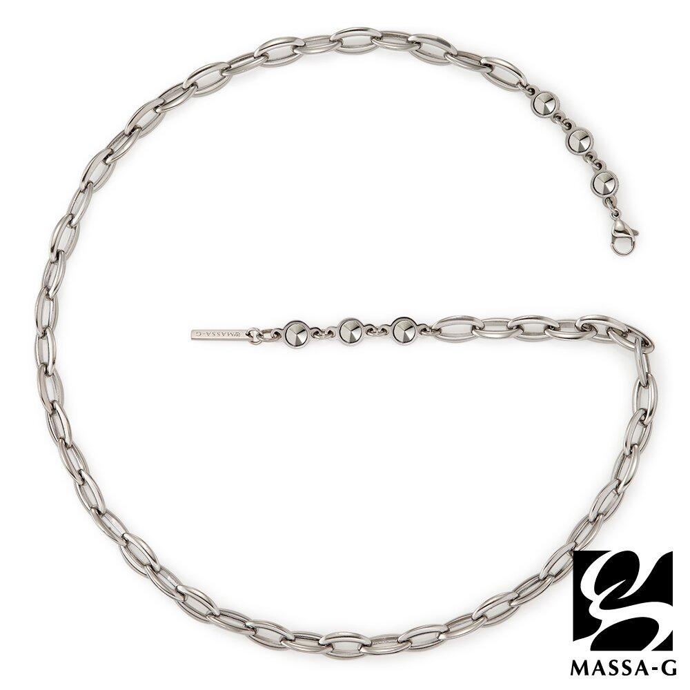 MASSA-G【阿波羅之鍊Apollo】6顆金屬鍺錠白鋼項鍊(7MM)