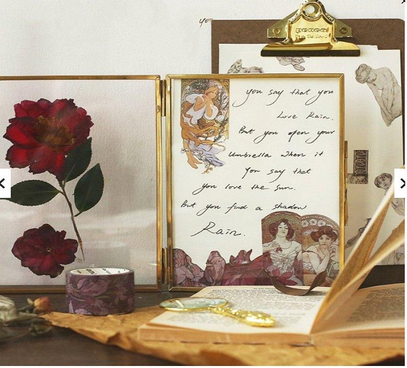 燙金 穆夏史詩系列 中古手賬和紙膠帶 復古日記素材 首飾 素描