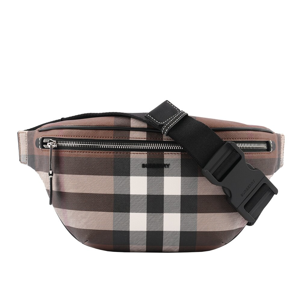 BURBERRY Check E-canvas Bum Bag腰包(棕色) 8036559