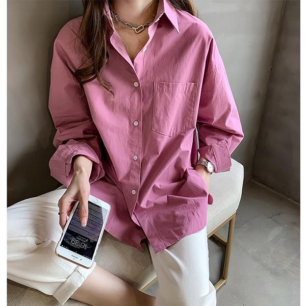 中大碼襯衫 M-4XL 簡約氣質大碼純色襯衫女寬松顯瘦韓範襯衣打底上衣815 GD711 韓依紡