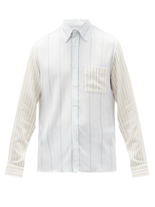 Another Aspect - Patch Pocket Striped Tencel-twill Shirt - Mens - Multi
