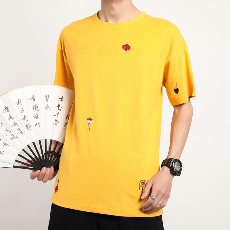 男士短袖T恤 M-5XL 夏季新款短袖燈籠刺繡T恤 圓領套頭衫 中國風簡約短T民族風上衣 舒適透氣唐裝 現貨 男生衣著
