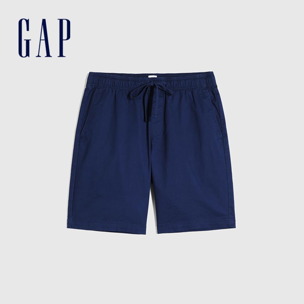 Gap 男裝 簡約風格純色鬆緊短褲 841941-深藍色