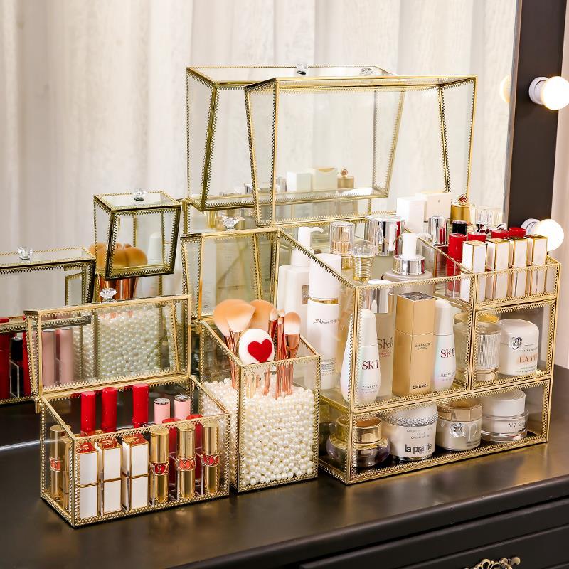 化妝品收納盒家用防塵口紅桌面護膚刷梳妝臺整理大容量置物架