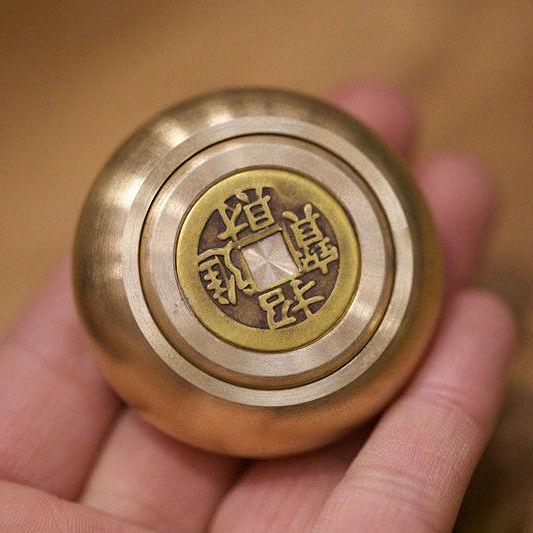 珍品純黃銅賺錢銅錢招財進寶時來運轉解壓隨身風水手把玩手把件