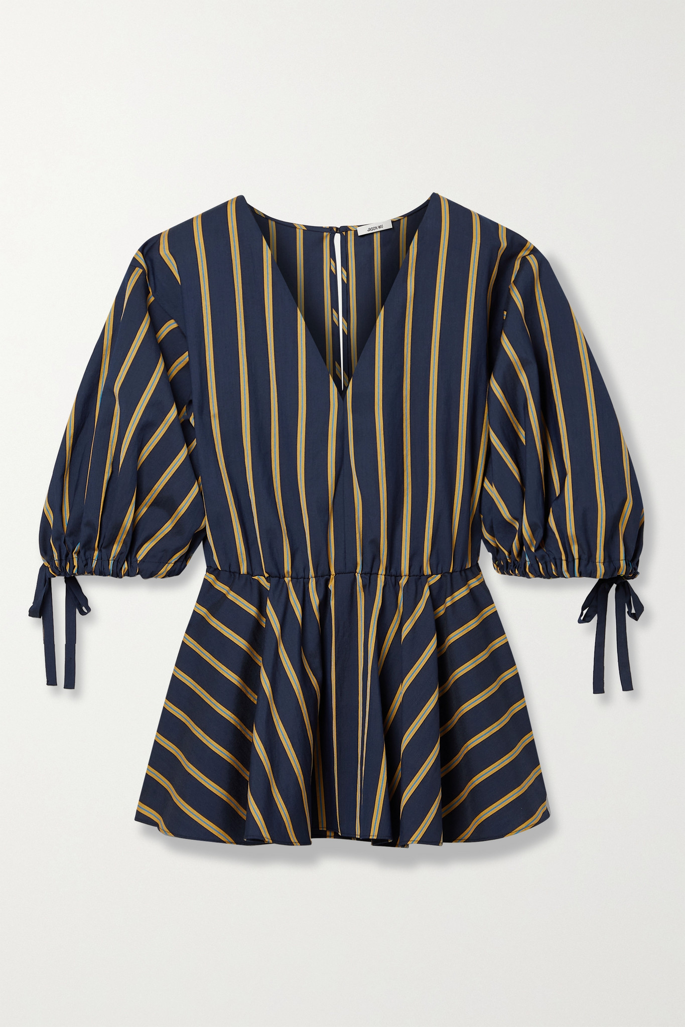JASON WU - Striped Poplin Peplum Top - Blue - small