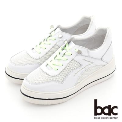 【bac】異材質拼接撞色厚底休閒鞋-綠色