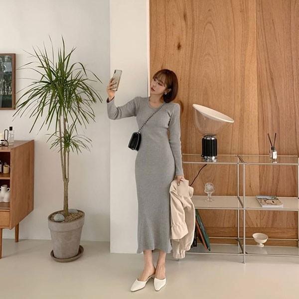 NXS 正韓 洋裝 圓領 素面 合身 長洋 長裙 長洋裝 連身裙 長袖 顯瘦 修身 彈性 氣質 韓國