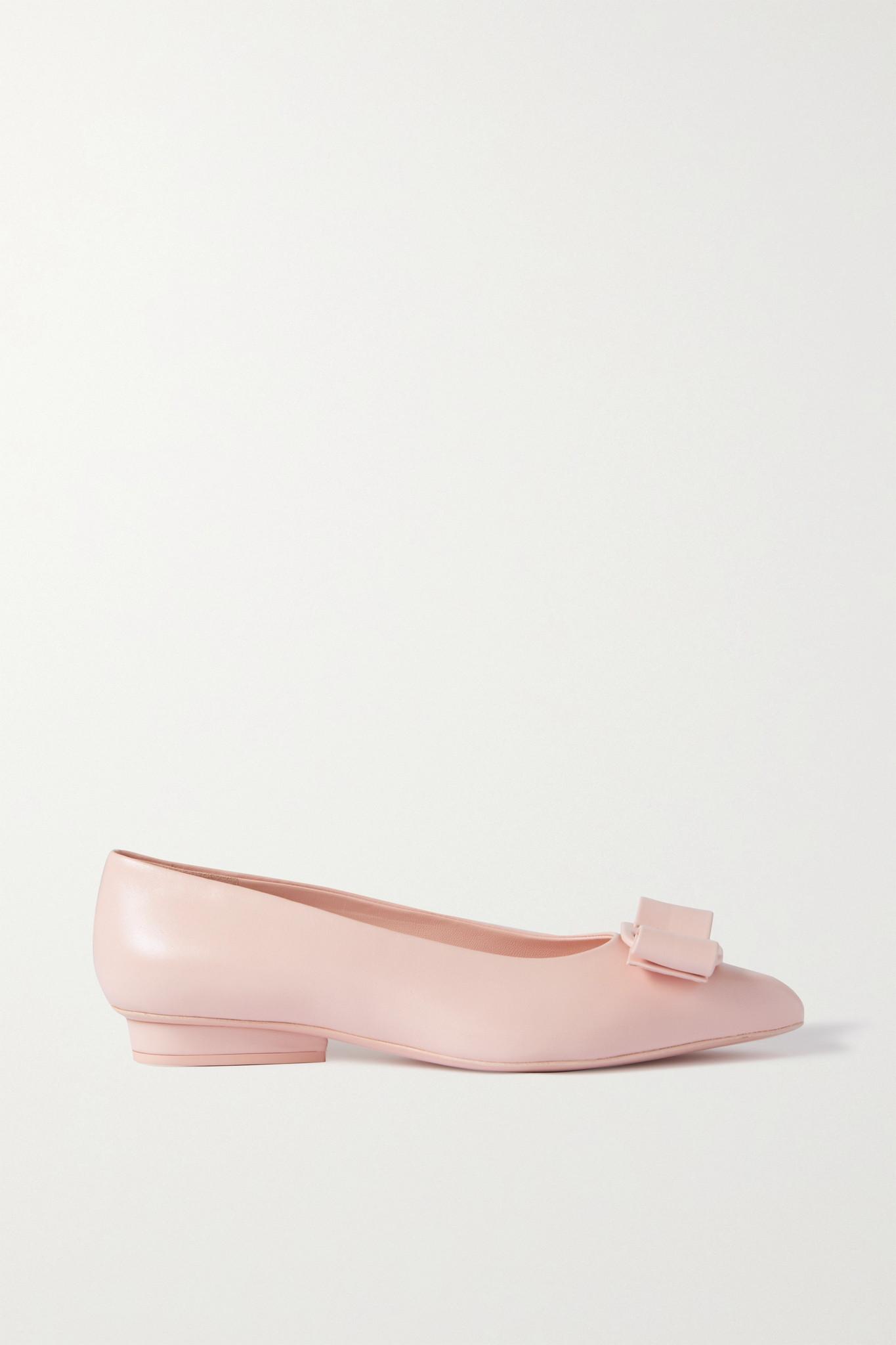 SALVATORE FERRAGAMO - Viva 蝴蝶结缀饰皮革尖头浅口鞋 - 粉红色 - US9.5