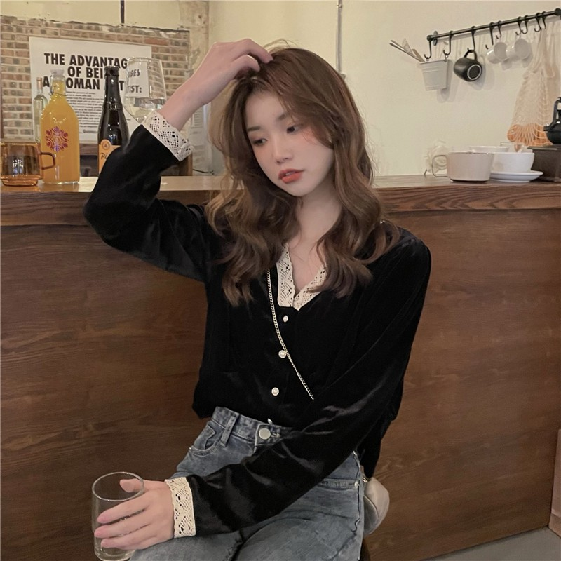 韓版復古洋氣襯衫 顯瘦v領花邊金絲絨短款襯衫 氣質長袖襯衫上衣