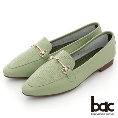 【bac】時髦小方頭編織金屬珍珠飾釦平底鞋-綠