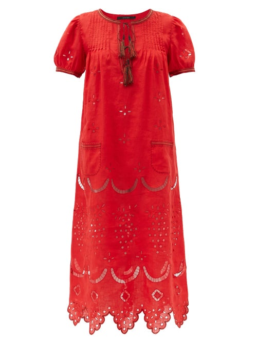 Vita Kin - Veronica Tassel-neck Embroidered Linen Midi Dress - Womens - Red