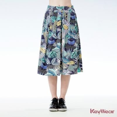 KeyWear奇威名品    夏日趣味印花長裙-深藍色