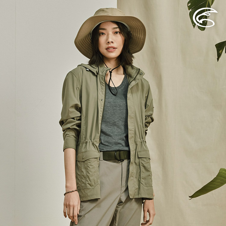 ADISI 女抗UV平織彈性軍裝可拆帽抽繩夾克AJ2011086 (S-2XL) / 城市綠洲 (透氣、輕量、防曬、快乾)