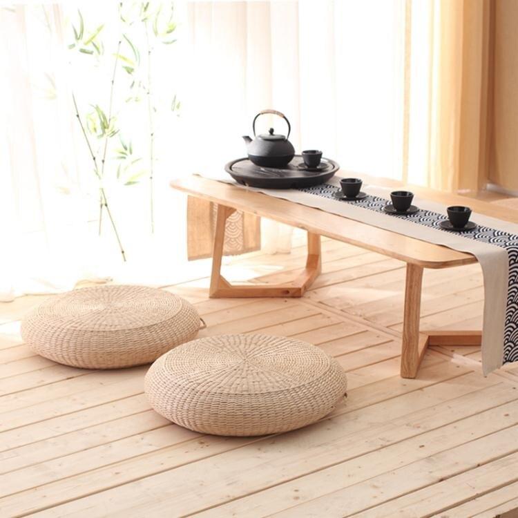 日式客廳蒲團坐墊地上圓墊子地板打坐拜佛禪修草編榻榻米飄窗家用 娜娜小屋