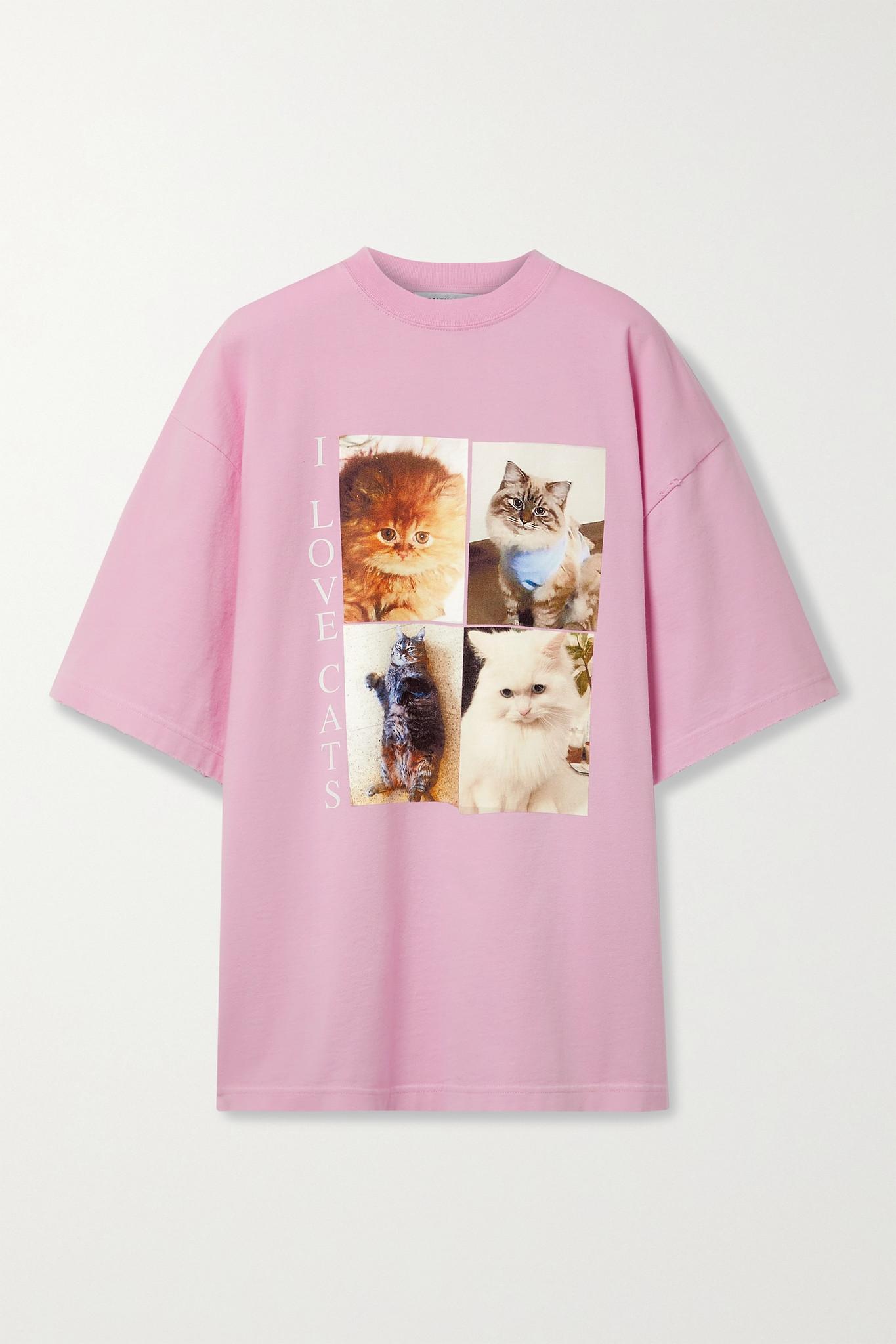 BALENCIAGA - 大廓形印花纯棉平纹布 T 恤 - 粉红色 - large