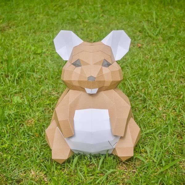 【匠紙Articraft】3D紙模型 招財鼠擺飾
